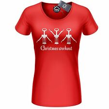 Christmas Workout Funny Wine Cork Screw T Shirt Prosecco Champagne Tee top CH30