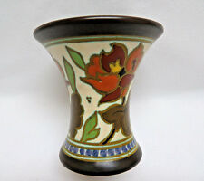 """Antique Signed GOUDA Holland Hand Painted Art Pottery Vase 4"""""""