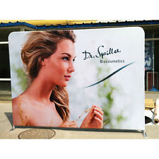 10ft Straight Fabric Tension Display Trade Show Backwall (Stand+Design Print)