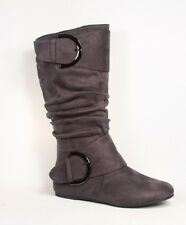 NEW Women Round Toe Zipper Flat Slouch Mid Calf Knee High Boot Shoes Size 5 - 10