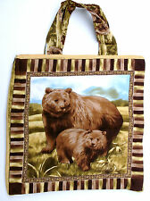 "Brown Bears Quilted Tote Bag-15 1/2"" X 15 1/4""-Handmade by Pizazz Creations"