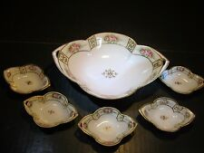 Old Ornate Nippon Master Relish Dish With 5 Small Matching Salt Dips