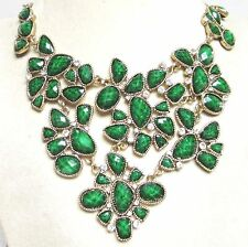 Vintage 70's Plastic Lucite Crystal Rhinestone Bib Collar Drop Necklace Green