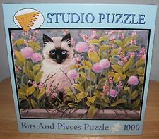 Blue Eyes Bits And Pieces Jigsaw Puzzle 1000 Pieces Linda Elliott Cat Garden New