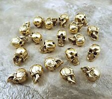 20 Gold Tone Pewter Beads - 5.5mm SKULL with Vertical Hole - 5203