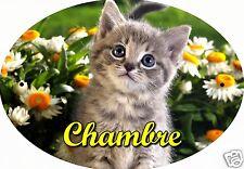 PLAQUE DE PORTE OVALE RIGIDE CHAT CHATON REF118 personnalisée  prénom CHAMBRE