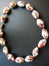 Vintage Venetian White Gold Foil Millefiori Glass Beads Silk Knotted 15.5""