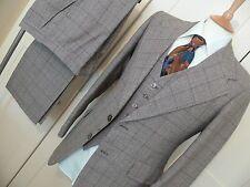 Mens superb vtg 3 pc tweed suit 40 chest x 32 waist brown & beige window pane