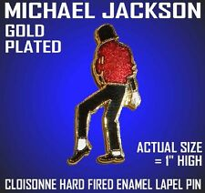 MICHAEL JACKSON HARD FIRED ENAMEL GOLD PLATED LAPEL PIN CLOISONNE w/ GIFT BOX