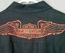 Harley Davidson Mens Short Sleeve Shirt Front Back Embroidered Black Size Medium