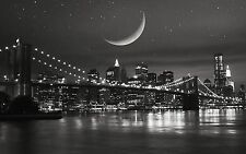 NEW YORK NIGHT BLACK AND WHITE CITYSCAPE Large Wall Canvas Print 20x30 Inch