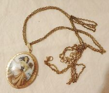 """mid century Opening Oval Locket Necklace Pendant Transfer Pretty Girl 26"""" + 4ext"""