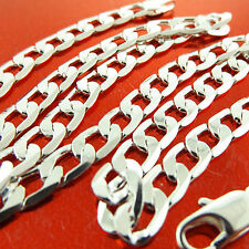 A264 GENUINE REAL 925 STERLING SILVER S/F SOLID MENS CURB CUBAN NECKLACE CHAIN