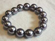 "Beautiful Stretch Bracelet Silver/Gray Plastic Beads 1/2"" Wide CUTE"