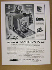 1958 Linhof Super Technika IV 4x5 Camera photography vintage print Ad