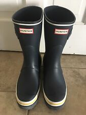 Hunter Women's Original Short Wedge Sole Buoy Stripe Rain Boot Navy NEW Size 10