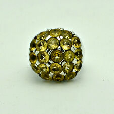 Citrine Ball ring Statement round Yellow Gemstones HAPPY stone Sterling Silver
