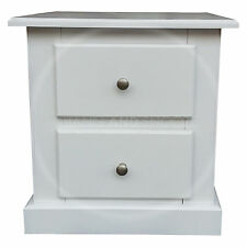 HAND MADE DEWSBURY FURNITURE 2 DRAWER BEDSIDE WHITE(ASSEMBLED)