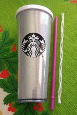 2016 Holiday Ed Starbucks White Glitter Venti 24 oz Cold Cup BONUS Pink Straw