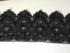 NEW Jet Black Anglaise Guipure Fashion Scallop Lace Fabric Trimming Party Dress