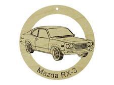 1973 Mazda RX-3 Natural Maple Hardwood Ornament Sanded Finish Laser Engraved