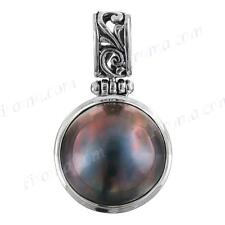 """1 1/8"""" BLUE MABE PEARL 925 STERLING SILVER pendant"""