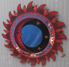 Specchio sole luna rosso diametro cm 60 con mosaico di vetro