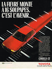PUBLICITE ADVERTISING 035  1986   TOYOTA  COROLLA GT 16 soupapes
