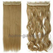 "100% Real Thick 200g 17-30"" Clip in Hair Extensions Full Head Wavy Straight O89"