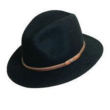 SCALA ** BLACK WOOL FEDORA HAT * L XL * NEW MENS WINTER CRUSHABLE SAFARI OUTBACK