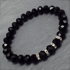 BLACK FACETED GLASS CRYSTAL BEAD RHINESTONE DIAMANTE ELASTIC STRETCH BRACELET