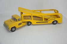 VTG Buddy L Hertz Car Hauler Transporter Truck Pressed Steel Yellow Toy