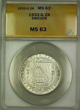 1932-G Sweden 2K Two Kroner Silver Coin Anacs Ms-63