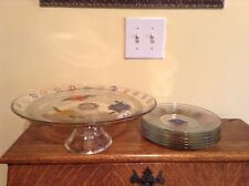 Large heavy vintage hand painted cake stand and 6 matching plates UNIQUE!