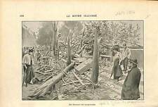 BOUQUINISTE Bookseller Tornade 10 septembre 1896 Paris GRAVURE FRANCE 1896