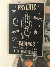 Wooden Hanging Palmistry Fortune Teller Sign Psychic A4 Block Sign Gypsy Tarot