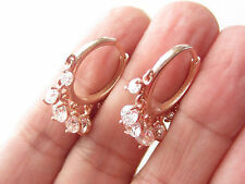 TURKISH WHITE TOPAZ ROSE GOLD PLT 925K STERLING SILVER HANDMADE HOOP EARRINGS