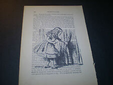 1893 ORIGINAL MEDICAL BOOK PAGE WITH VINTAGE ARTWORK OF ALICE IN WONDERLAND