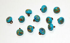 VINTAGE MOTTLED MILLEFIORI GLASS SMALL BUTTON BUTTONS TURQUOISE BLUE 7mm JAPAN