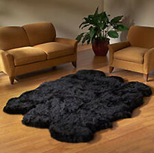 BLACK big GENUINE SEXTO 6 Pelt SHEEPSKIN RUG sheep skin SIXTO z14 - natural hair