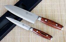 KATSURA Japanese VG-10 3 Layer Forged Steel 7in Santoku knife Set vs Shun, 2pcs