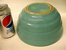 "MID-CENTURY BAUER ART POTTERY RINGED RIBBED BATTER BOWL 8"" TURQUOISE"