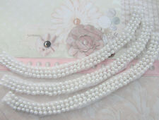 "3pc Pearl Bead 9.5"" Strand White Mesh Lace Trim/Sewing/Collar/notion/Dress T23"