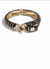 NWT GUESS Elephant Bangle Bracelet Cuff Black enamel & Gold Tone
