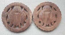 Two Hand Carved Wood Trivets from India