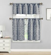 Dawn Birds Indigo Blue Gray Jacquard Fabric Kitchen Window Set, 3pc.