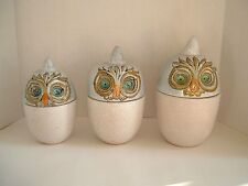 VINTAGE RAYMOR MID CENTURY MODERN POTTERY OWL CANISTER SET ITALY ~ RAYMOR LABELS