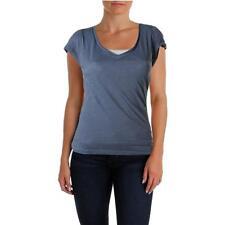 INC 5142 Womens Blue V-Neck Slub Short Sleeves T-Shirt Top S BHFO
