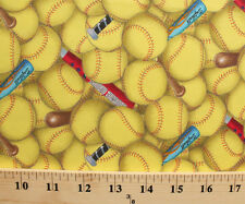 Cotton Sports Fastpitch Softball Bats Packed Yellow Cotton Fabric Print D665.13