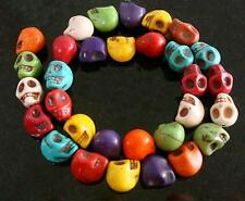 Day of the dead skull beads multicolored reconstituted howlite 32 pc lot  fpb330